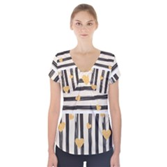 Black Lines And Golden Hearts Pattern Short Sleeve Front Detail Top