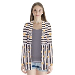 Black Lines And Golden Hearts Pattern Cardigans