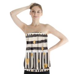 Black Lines And Golden Hearts Pattern Strapless Top