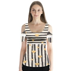 Black Lines And Golden Hearts Pattern Butterfly Sleeve Cutout Tee