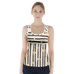 Black Lines And Golden Hearts Pattern Racer Back Sports Top