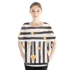 Black Lines And Golden Hearts Pattern Blouse