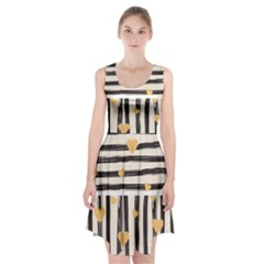 Black Lines And Golden Hearts Pattern Racerback Midi Dress