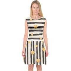 Black Lines And Golden Hearts Pattern Capsleeve Midi Dress