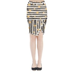 Black Lines And Golden Hearts Pattern Midi Wrap Pencil Skirt