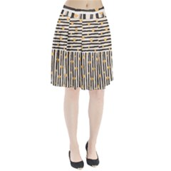 Black Lines And Golden Hearts Pattern Pleated Skirt