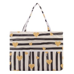 Black Lines And Golden Hearts Pattern Medium Tote Bag