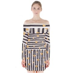 Black Lines And Golden Hearts Pattern Long Sleeve Off Shoulder Dress