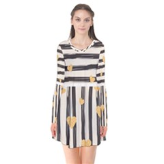 Black Lines And Golden Hearts Pattern Flare Dress