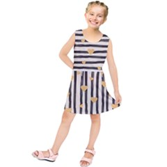 Black Lines And Golden Hearts Pattern Kids  Tunic Dress