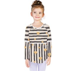 Black Lines And Golden Hearts Pattern Kids  Long Sleeve Tee