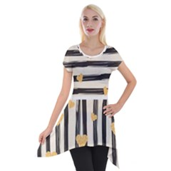 Black Lines And Golden Hearts Pattern Short Sleeve Side Drop Tunic