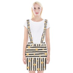 Black Lines And Golden Hearts Pattern Suspender Skirt
