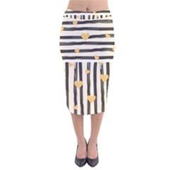 Black Lines And Golden Hearts Pattern Velvet Midi Pencil Skirt