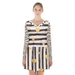 Black Lines And Golden Hearts Pattern Long Sleeve Velvet V Neck Dress