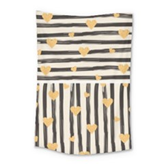 Black Lines And Golden Hearts Pattern Small Tapestry