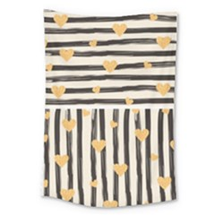 Black Lines And Golden Hearts Pattern Large Tapestry