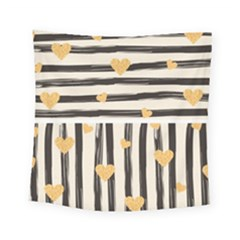 Black Lines And Golden Hearts Pattern Square Tapestry (small)