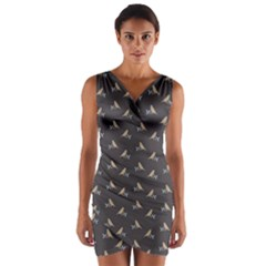 Nordic Bird Wrap Front Bodycon Dress