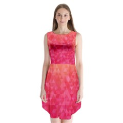 Abstract Red Octagon Polygonal Texture Sleeveless Chiffon Dress