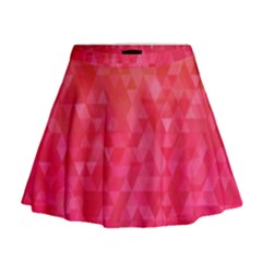 Abstract Red Octagon Polygonal Texture Mini Flare Skirt