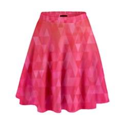 Abstract Red Octagon Polygonal Texture High Waist Skirt