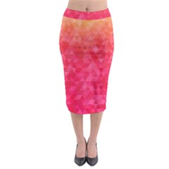 Abstract Red Octagon Polygonal Texture Midi Pencil Skirt