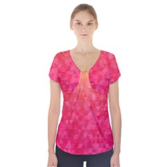 Abstract Red Octagon Polygonal Texture Short Sleeve Front Detail Top