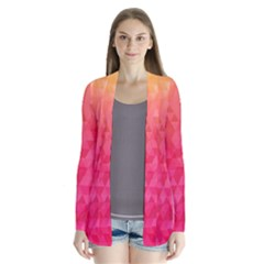 Abstract Red Octagon Polygonal Texture Cardigans