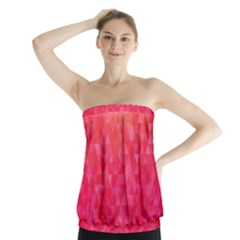 Abstract Red Octagon Polygonal Texture Strapless Top
