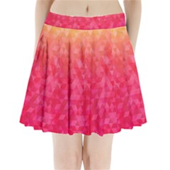 Abstract Red Octagon Polygonal Texture Pleated Mini Skirt