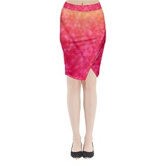 Abstract Red Octagon Polygonal Texture Midi Wrap Pencil Skirt