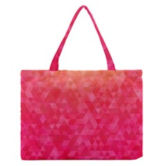 Abstract Red Octagon Polygonal Texture Medium Zipper Tote Bag