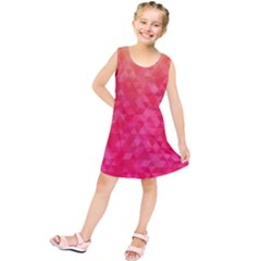 Abstract Red Octagon Polygonal Texture Kids  Tunic Dress