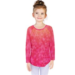 Abstract Red Octagon Polygonal Texture Kids  Long Sleeve Tee