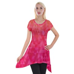 Abstract Red Octagon Polygonal Texture Short Sleeve Side Drop Tunic
