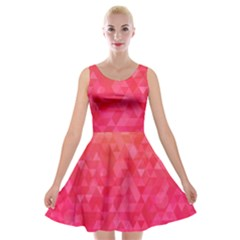 Abstract Red Octagon Polygonal Texture Velvet Skater Dress