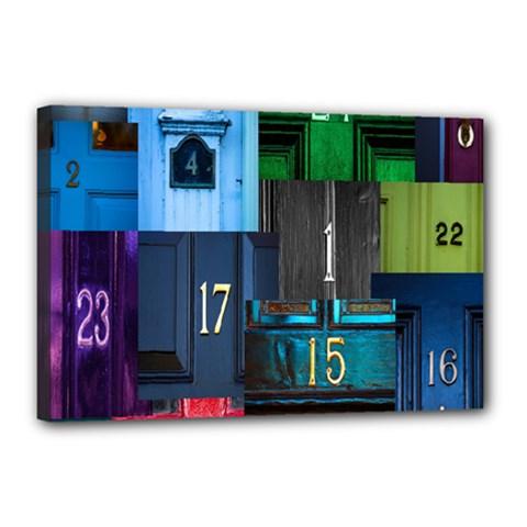 Door Number Pattern Canvas 18  X 12
