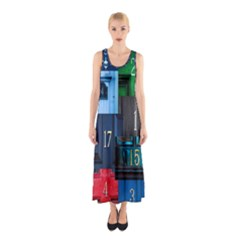 Door Number Pattern Sleeveless Maxi Dress