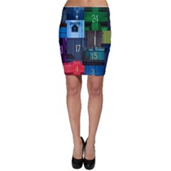 Door Number Pattern Bodycon Skirt
