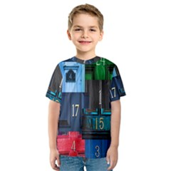 Door Number Pattern Kids  Sport Mesh Tee