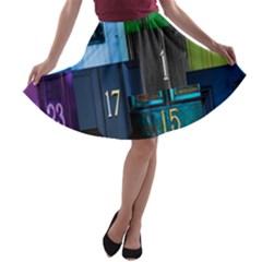 Door Number Pattern A Line Skater Skirt