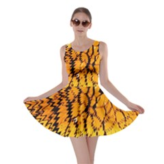 Yellow Chevron Zigzag Pattern Skater Dress