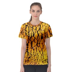 Yellow Chevron Zigzag Pattern Women s Sport Mesh Tee