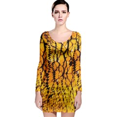 Yellow Chevron Zigzag Pattern Long Sleeve Bodycon Dress