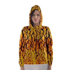 Yellow Chevron Zigzag Pattern Hooded Wind Breaker (Women)