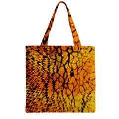 Yellow Chevron Zigzag Pattern Zipper Grocery Tote Bag