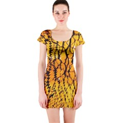 Yellow Chevron Zigzag Pattern Short Sleeve Bodycon Dress