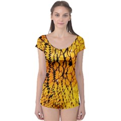 Yellow Chevron Zigzag Pattern Boyleg Leotard