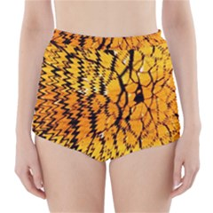 Yellow Chevron Zigzag Pattern High Waisted Bikini Bottoms
